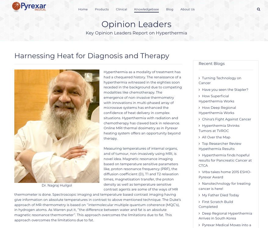 New Opinion Leaders section onthe Pyrexar Medical Website